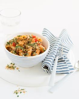 Chicken, Eggplant & Roasted Capsicum Pasta