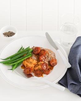 Veal Schnitzel with Tomato, Chilli & Ricotta Mash