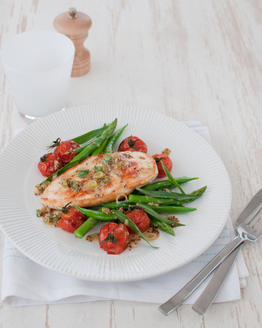 Chicken with Mustard Sauce, Roast Tomatoes & Asparagus