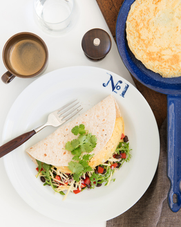 Breakfast Tortilla with Rocket, Black Beans & Spicy Salsa