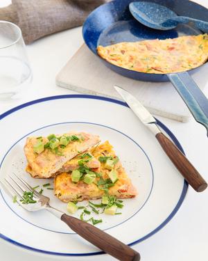 Roasted Capsicum & Ham Frittata with Avocado & Herb Salad