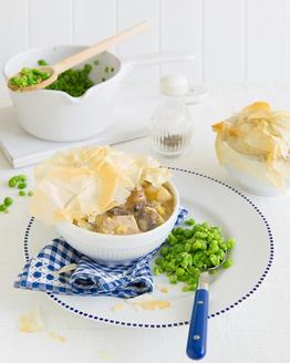 Chicken & Leek Pies with Mushy Peas