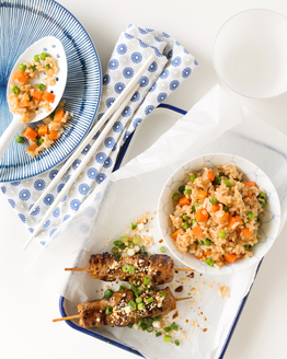 Satay Pork Skewers with Easy Fried Rice