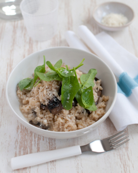 Thermomix Mushroom & Basil Risotto with Baby Spinach