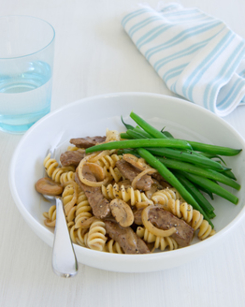 Thermomix Beef Stroganoff with Pasta & Beans