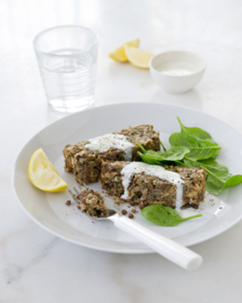 Thermomix Lentil loaf with yoghurt sauce & baby spinach salad