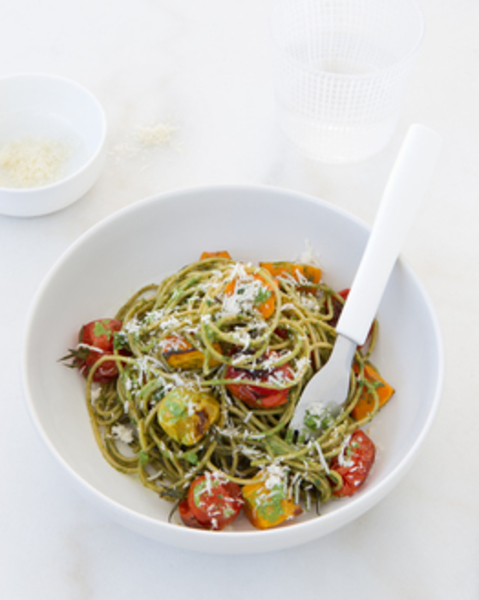 Thermomix Basil & Walnut Pesto Spaghetti with Roast Tomatoes & Pumpkin