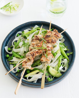 Lemongrass Pork Skewers with Rice Noodle Salad