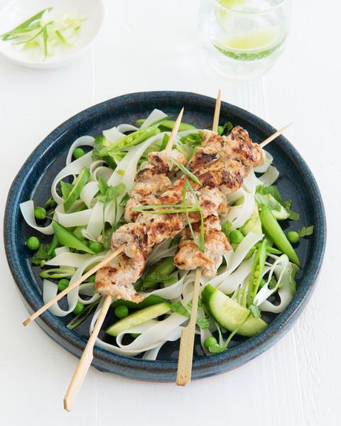 Lemongrass Pork Skewers with Rice Noodle Salad