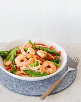 Garlic & Chilli Prawns with Noodles