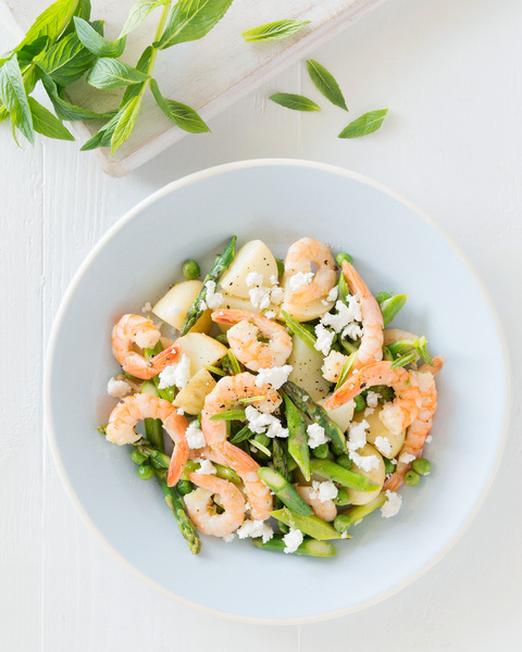 Warm Potato Salad with Prawns & Asparagus