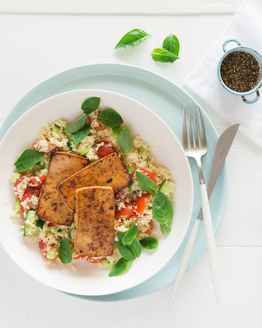 Seared Tofu with Tomato Couscous Salad