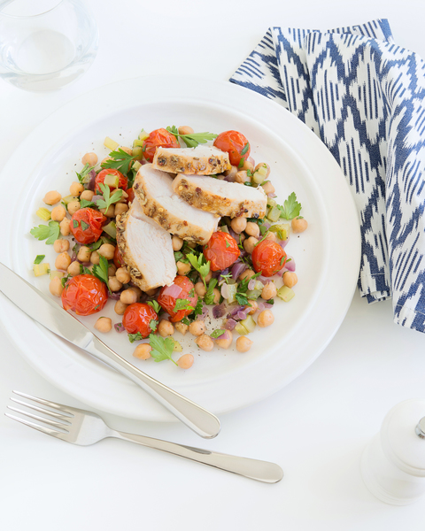 Cumin Spiced Chicken with Warm Chickpea Salad