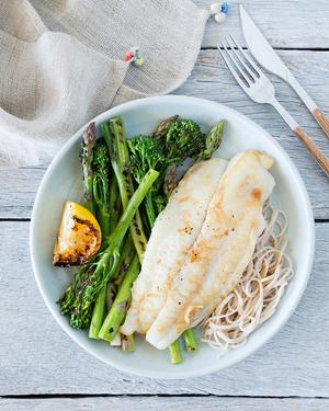 BBQ Lemon Fish with Seared Greens