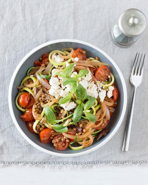 Zucchini Noodles with Lentils & Feta