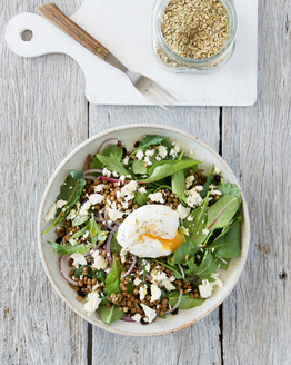Lentil Salad with Poached Eggs