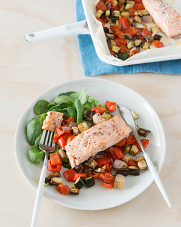 Low FODMAP Salmon & Ratatouille Tray Bake