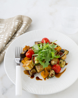 Low FODMAP Warm Roast Vegetable & Tofu Salad