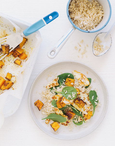 Low FODMAP Roast Pumpkin, Haloumi & Brown Rice Salad