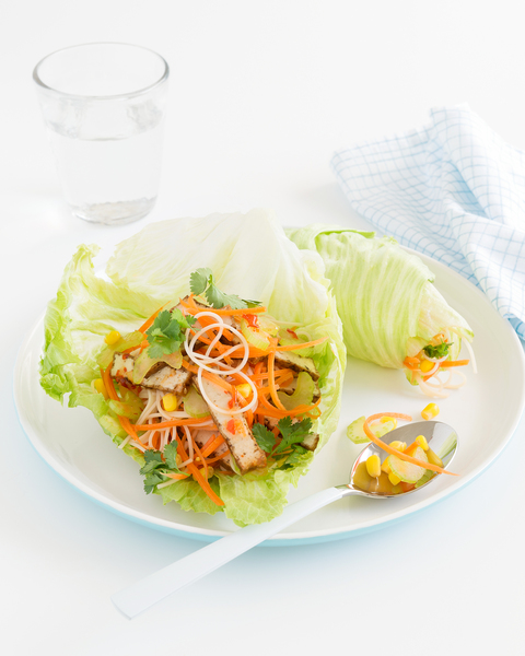 Low FODMAP Tofu, Vegetable & Noodle Lettuce Wraps