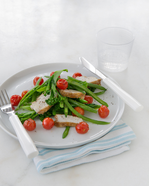 Low FODMAP Tofu Strips with Roasted Cherry Tomatoes & Beans