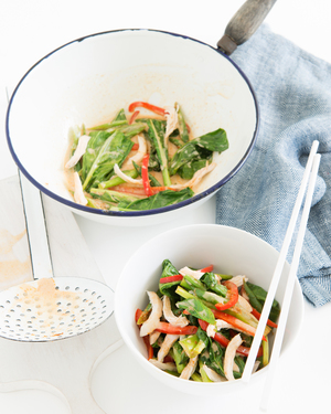 Low FODMAP Poached Ginger Tofu with Vegetables