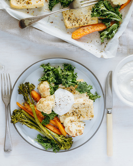 Vegie & Tofu Tray Bake with Feta Cream