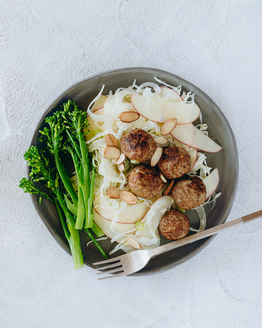 Pork Meatballs with Fennel & Apple Slaw