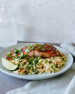 Miso Salmon with Cauliflower Fried Rice