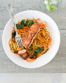 Family Seared Salmon with Vegetable Noodles