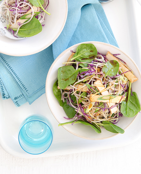 Family Soba Noodle, Tofu & Cabbage Salad with Ginger Dressing