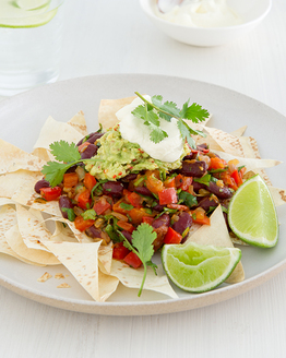 Family Bean Nachos with Chilli Guacamole