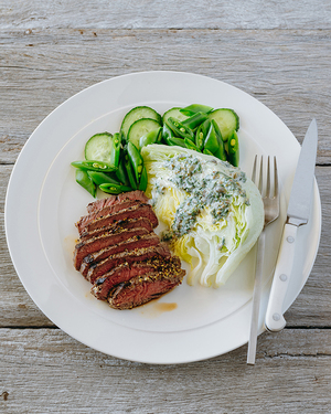 Barbecued Steak with Iceberg Salad