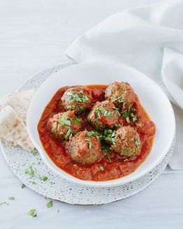 Spinach Falafel Balls with Tomato Sauce