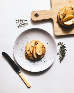Apple, Tahini Crumpet with Maple & Thyme