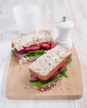 Roast Beef & Beetroot Sandwich with Horseradish Cream