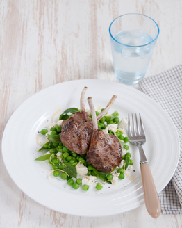 Lamb Cutlets with Mushy Peas, Ricotta & Mint