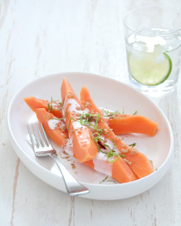 Papaya with Lime & Coconut Cream