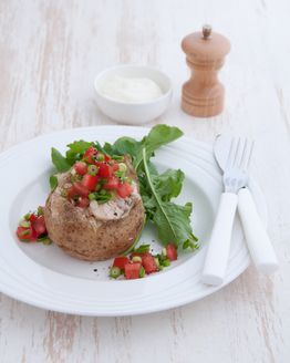 Salmon Stuffed Potato with Sour Cream & Chives