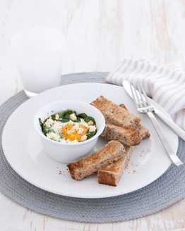 Baked Eggs with Spinach, Feta & Soldiers