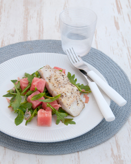 Watermelon, Pickled Ginger & Rocket Salad with Grilled Trevally