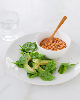 Baked Beans with Avocado & Spinach