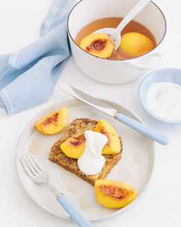 Poached Maple Cinnamon Peaches with French Toast