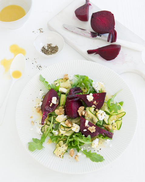 Roasted Beetroot & Zucchini Salad with Goat's Cheese