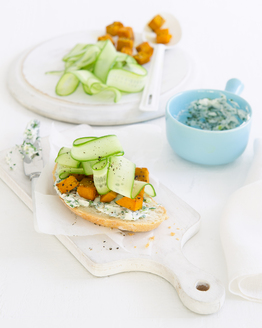Herbed Ricotta with Roast Pumpkin Open Sandwich