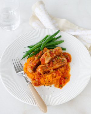 Vegetarian Sausage Casserole with Carrot Mash