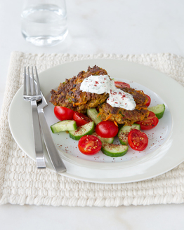 Spiced Nutmeat Rissoles with Mint Yoghurt Sauce
