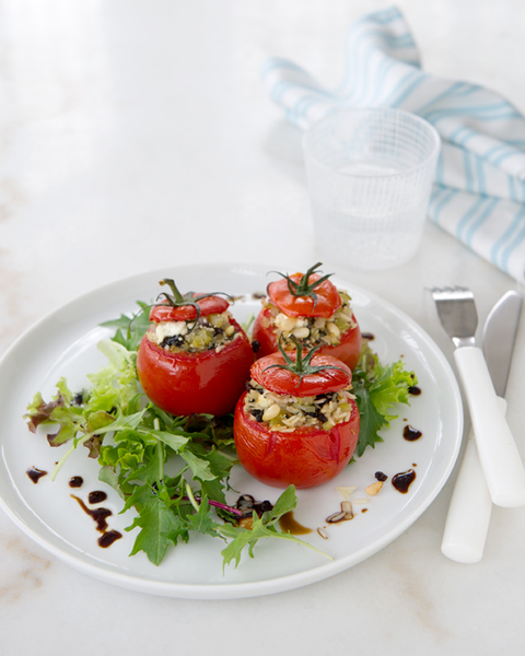 Stuffed Tomatoes with Feta, Currants & Mint