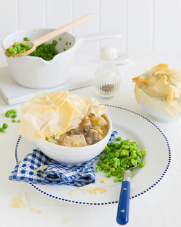 Chicken & Leek Pies with Mushy Peas