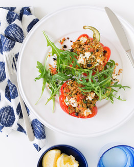 Quinoa, Feta, Lemon & Chilli Stuffed Capsicum